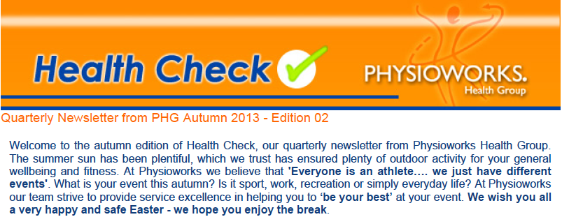 Physioworks Health Group Health Check Autumn Edition 2013