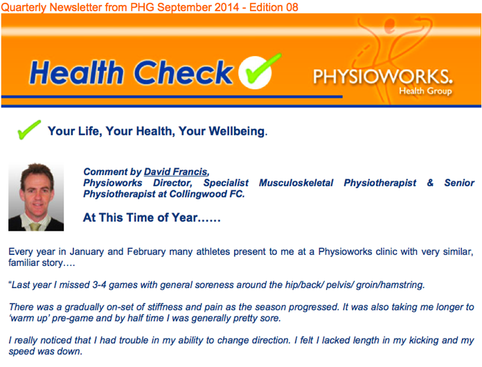 Physioworks Health Group Health Check Edition 8 2014