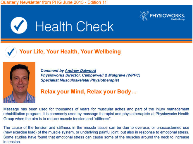 Physioworks Health Group Health Check June 2015
