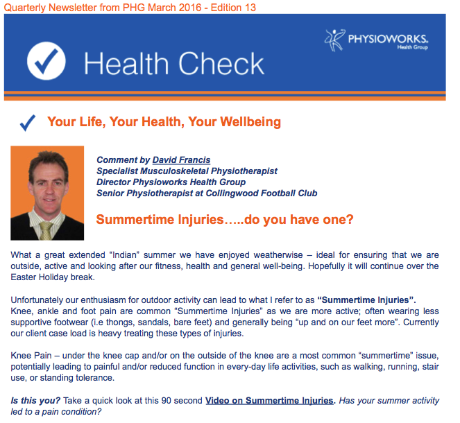 Physioworks Health Group Newsletter Edition 13
